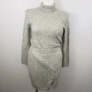 ASOS 10 faux wrap gray knit sweater sheath dress